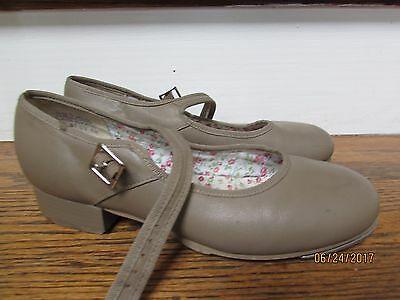 women's size 6 CAPEZIO 3800 Adult Mary Jane Buckle Strap Tap Shoes Nude Leather