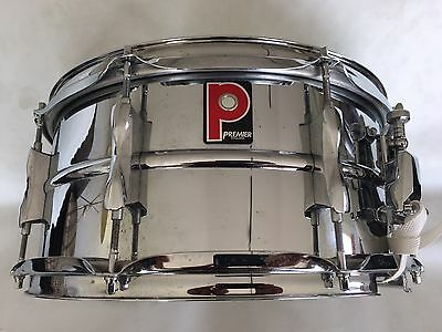 """Premier Chrome Snare Drum 14 X 6.5"""" With Padded Drum Case"""