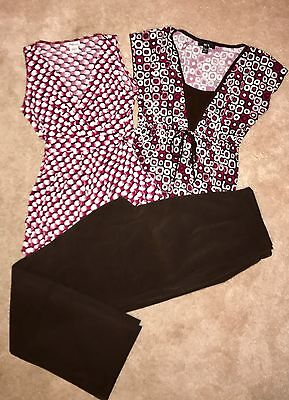 Mimi Maternity & Take Nine Maternity Tops Pink/Brown Small & Pants Size M Brown