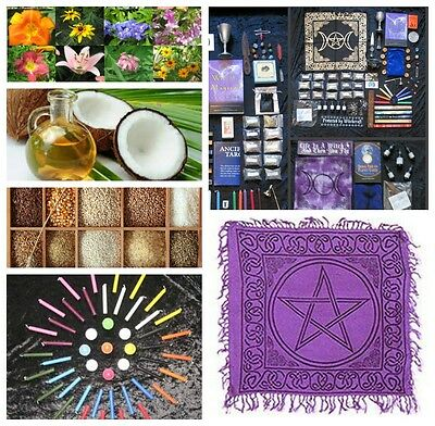 Brand New Wicca Pagan Witches ULTIMATE Stock Up Kit Candles Herbs Incense Stones