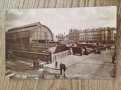 Postcard Railway Station and Zetland Road Middlesbrough RP