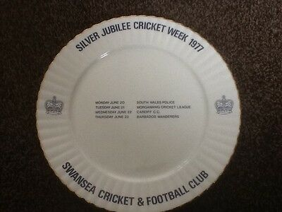 1977 Silver Jubilee Of Q E 11  Swansea Cricket & Football Club Ceramic Plate.