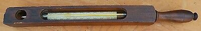 Antique 19th Century Glass Bath Thermometer Wood Encased with Handle