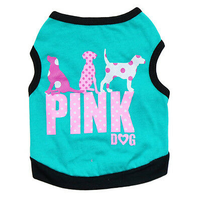 Small Pet Vest T Shirt Puppy Dog Cat Clothes Apparel Chihuahua PINK DOG Costume
