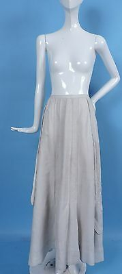 Antique Edwardian Fine Linen Skirt 4 Dress W Dense Hand Embroidered Florals