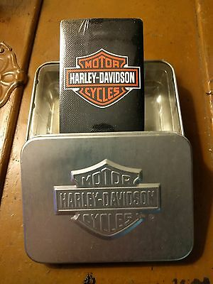 Harley Davidson Playing Cards In Decorative Silver Tin