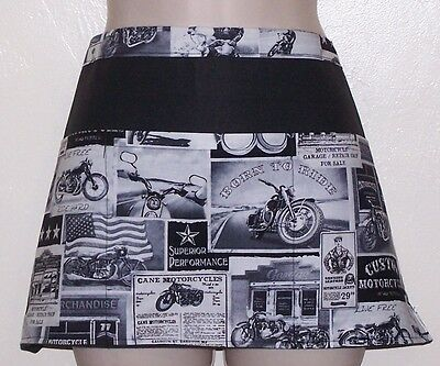 Black apron custom motorcycles waitress server waiter waist apron 3 pockets