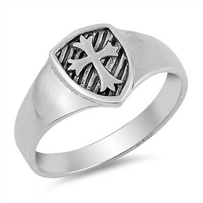 Men's Solid Medieval Cross Band .925 Sterling Silver Ring Sizes 4-10