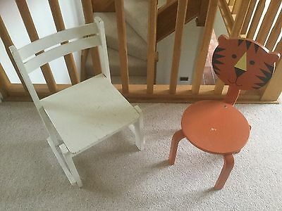 Two Children's Wooden Chairs One Tiger One Other