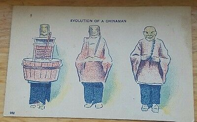 Racist Stereotypical Chinese Postcard Evolution of a China man Opium