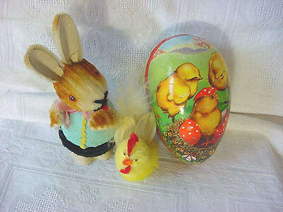 3 pc Lot VINTAGE EASTER Bunny Nodder CANDY Container EGG Chick W GERMANY Rooster