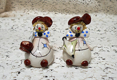 2 Vintage Miniature Mini Hand Sculpted & Painted Clay Clown Figurines