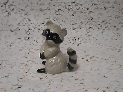 Vintage Gray & Black Porcelain Ceramic Raccoon Figurine