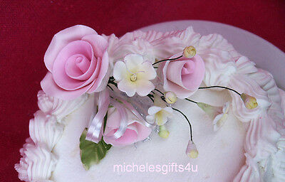 Gum Paste Pastel Pink Roses Stephanotis Sugar Cake Flowers Green Leaf & Ribbon