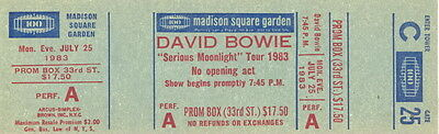David Bowie 1983 Serious Moonlight Tour Concert New York Unused Ticket No. 1