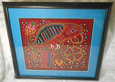 Framed & Matted Parrot Perched on a Branch & Floral Design Fabric Textile Art