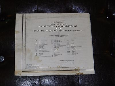 Vintage 1979 Clearwater National Forest IDAHO Travel Plan Detailed Map