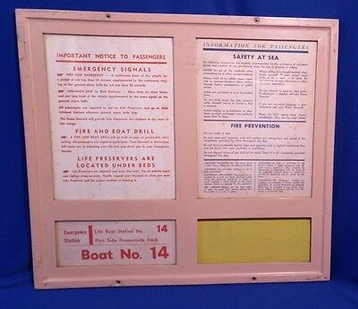 SS UNITED STATES Stateroom Cabin Door Life Boat Drill Emergency Board Boat 14