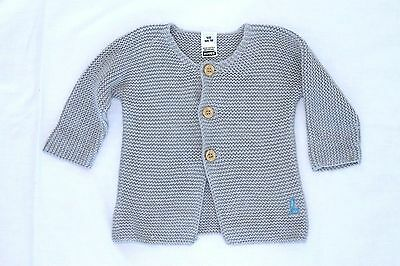 Bonds Grey Wool Knitted Cardigan Wooden Buttons Newborn Baby Size 000 00