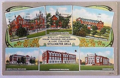 SIX MAIN CAMPUS BUILDINGS OF OKLAHOMA A&M COLLEGE STILLWATER Linen Postcard 1167