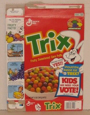 Trix Kids Vote Cereal Box Yes Let Rabbit Eat Trix Button Premium Prize 1991