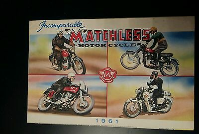MATCHLESS Range Motorcycle Sales Brochure 1961 showroom sales sheet poster vgc