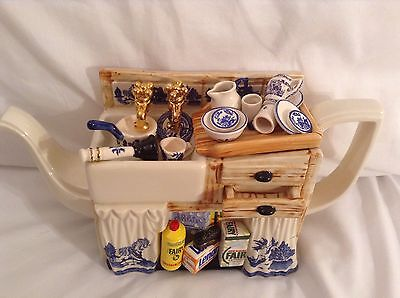 Cardew Blue Willow Very Rare Collectable Novelty Large Sink Teapot Grt Condition