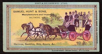 Baltimore Maryland*md*samuel Hunt & Sons*harness*saddles*bits*spurs*stagecoach