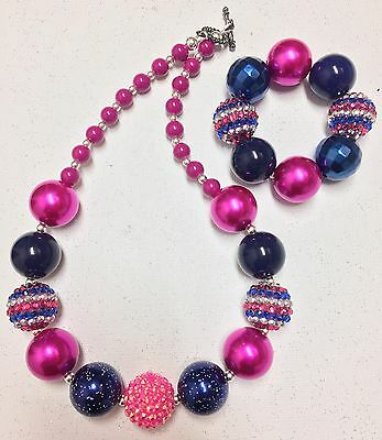 Chunky Bubblegum Necklace Bracelet Set Child Nautical Colors