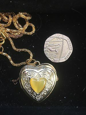 Heart Shaped Watch Necklace Gold Coloured With Yellow Stone Working
