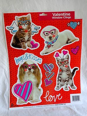 Valentine Window Clings ONE SHEET 8 Pieces CATS DOGS HUGS KISSES Puppy Kitty