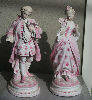 2 Large Victorian couple figurines Vintage Porcelain German French Dove Bird