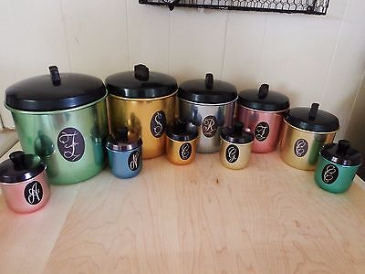 Model Made Jason Colorful Australian Anodized Canisters w/matching Spice tins