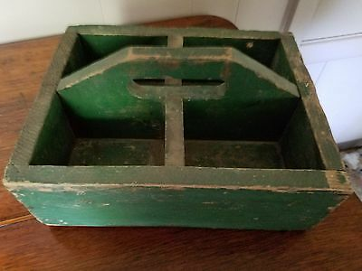 """Antique Primitive Wood Wooden 12"""" Tote/cady With Old Green Paint  Exc"""