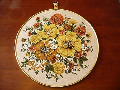 Vintage Mid Century Wall Hanging Orange Yellow Gold Flowers on Linen Round Frame