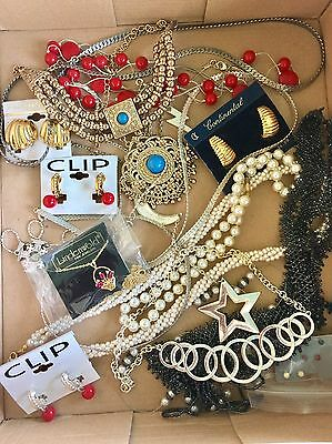 New & Vtg Jewelry Wholesale Lots 8 Lbs Necklaces  Pins Earrings Rings Namebrands