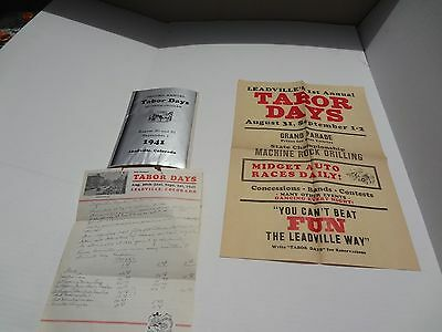 """LEADVILLE """"TABOR DAYS"""" 1940 1st ANNUAL POSTER & 2nd ANNUAL 1941 PROGRAM"""