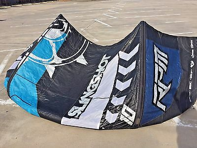Slingshot RPM 10m kiteboarding kite with bag and bar and lines ready to fly now