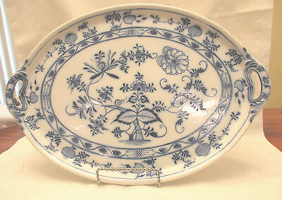 Antique German Blue Onion Platter With Handles