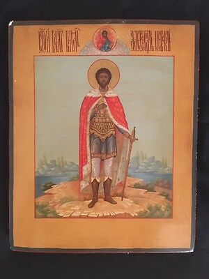 Russian Hand Painted Gold Leaf Icon-St. Alexander Nevsky/ Св. Александр Невский