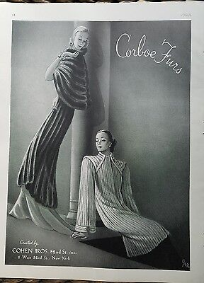 1937 Cohen brothers women's Corboe fur coat Greta Art Deco fashion ad