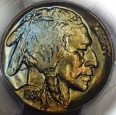 1938-D 5C Buffalo Nickel PCGS MS67+ Toned! Beautiful Coin