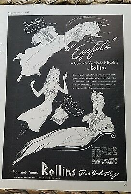 1943 women's lingerie by Rollins fine underthings lace slip underwear ad
