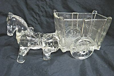 Vintage Clear Pressed Glass Donkey & Cart Candy Dish - A True Classic