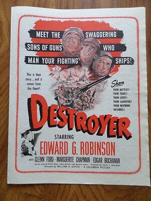 1943 Movie Ad Destroyer Edward G Robinson Glenn Ford Marguerite Chapman Buchanan