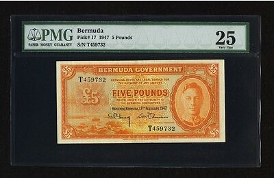 Bermuda 5 Pounds 1947 Pick 17 PMG 25 Very Fine - Rare Note