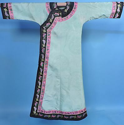 Antique Chinese Turn Of C Pale Green Robe W Brocade Floral Trims
