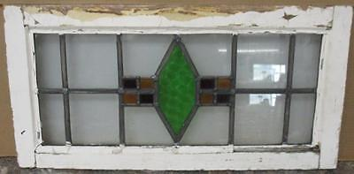 """MID SIZED OLD ENGLISH LEADED STAINED GLASS WINDOW Abstract Diamond 26"""" x 13"""""""