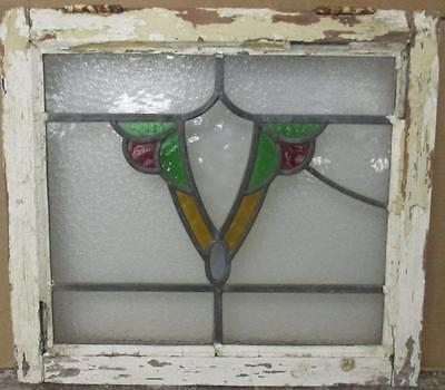 """OLD ENGLISH LEADED STAINED GLASS WINDOW Abstract Shield 19.5"""" x 17"""""""