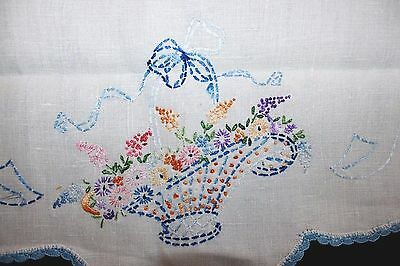 VINTAGE FIVE (5) Matching Hand-Embroidered Runners Doilies, Flowerbaskets